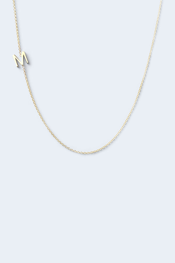 """M"" Alphabet Letter Necklace - Yellow Gold"