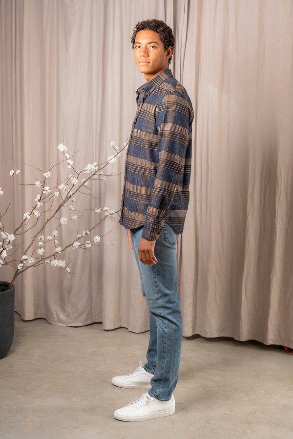 Tokyo Check Cotton Shirt in Plaid Block