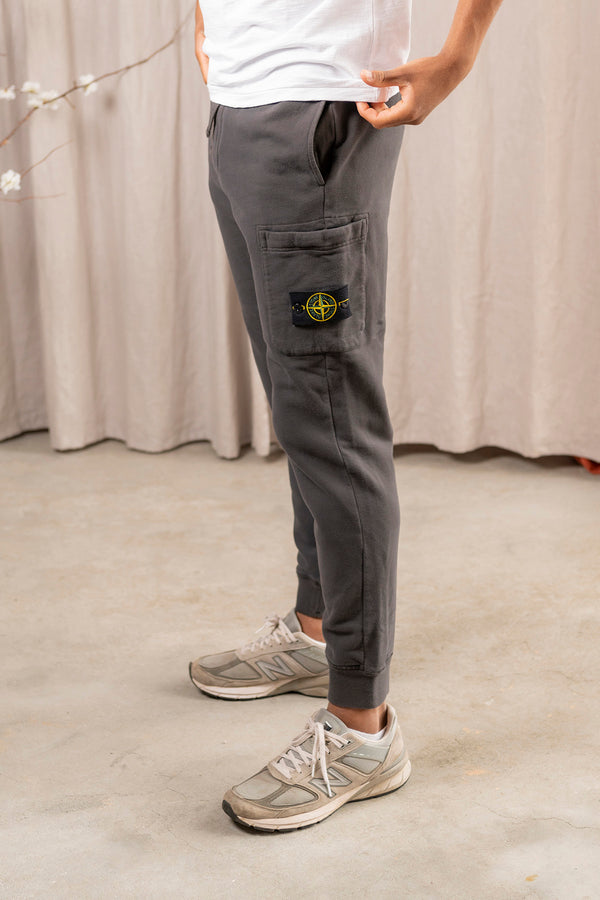Fleece Pants with Tie Waist and Side Pocket in Charcoal