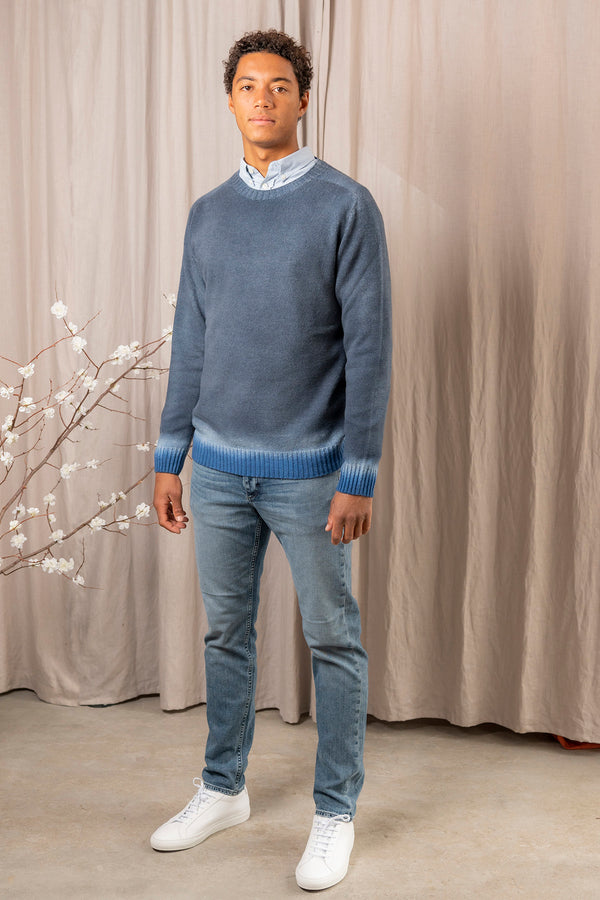 Wool Cashmere Reversible Sweater in Blue