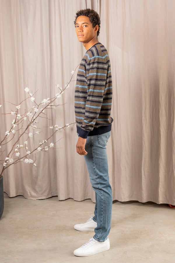 Kane Brushed Cashmere Stripe Crew Sweater in Blue