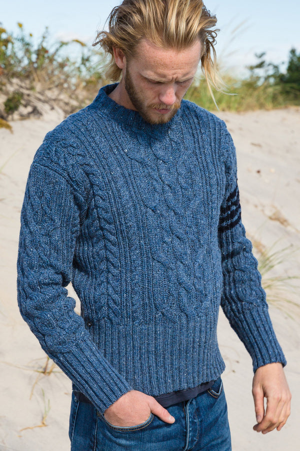 Aran Cable Crew Neck Pullover in Donegal with 4 Bar Stripe