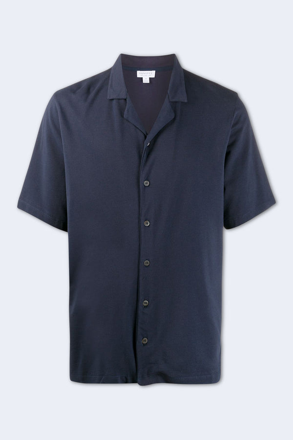 Short Sleeve Pique Shirt in Navy