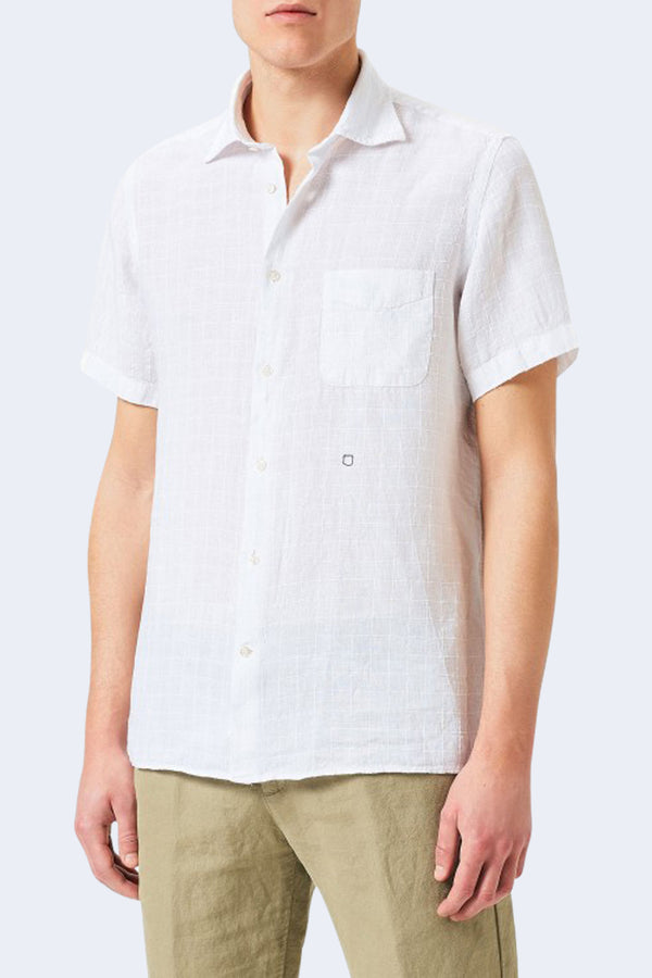 Malibu Linen Check Short Sleeve Shirt in Bianco
