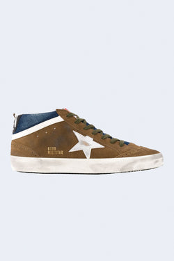 Men's Mid Star Sneakers in Tobacco Dark Blue Silver White
