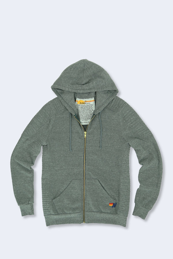 Moto Zip Hoodie in Heather Grey