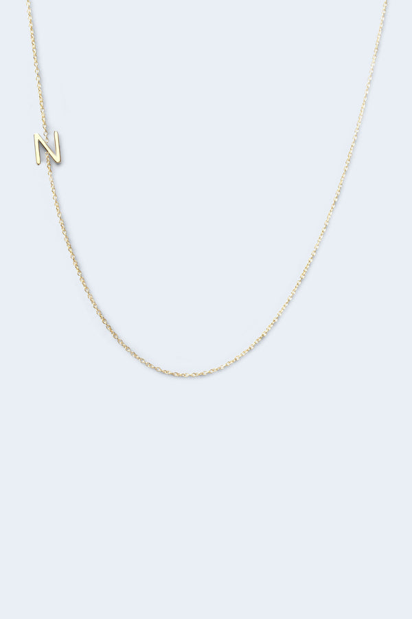 """N"" Alphabet Letter Necklace - Yellow Gold"