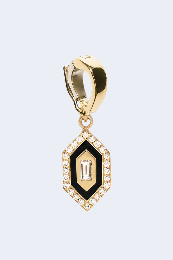 N/S Triple Diamond Enamel Charm in Black