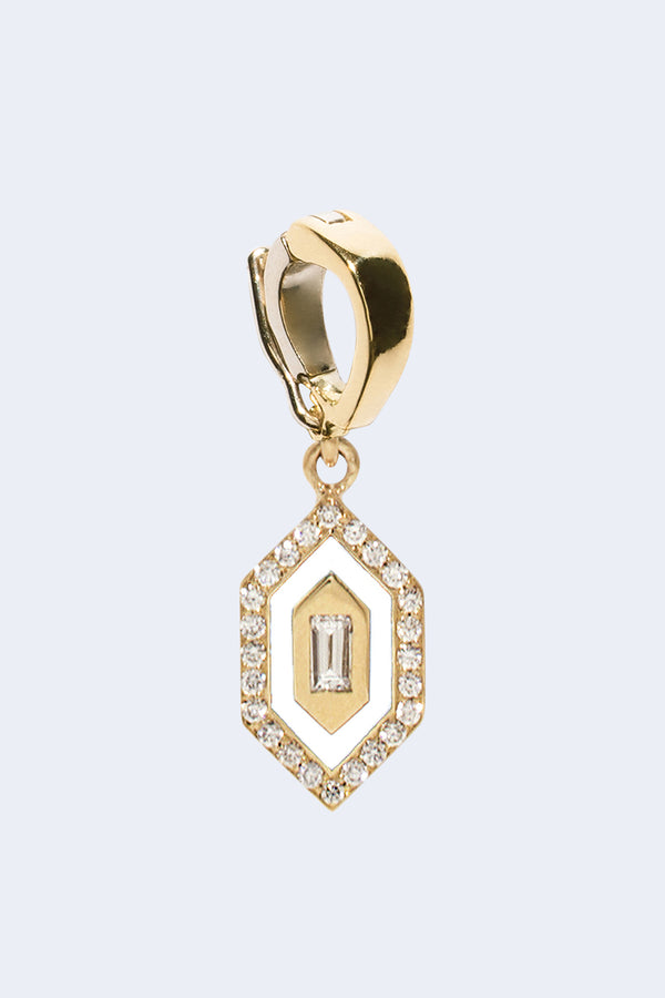 N/S Small Diamond Enamel Charm in White
