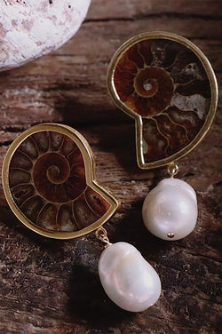 Nautilus Fossil Shell Clip On with Pearl Earrings