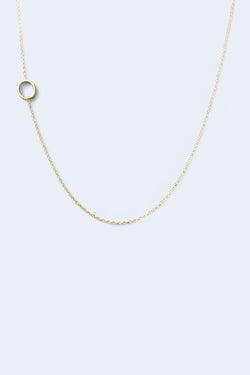 """O"" Alphabet Letter Necklace - Yellow Gold"