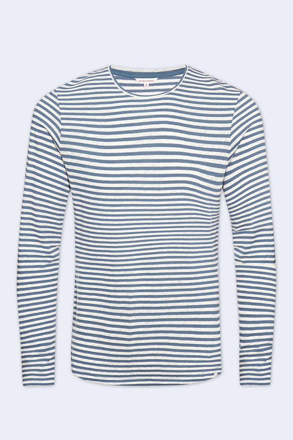 Ob-T Cotton Linen Stripe Long Sleeve T-Shirt in Blue Haze White
