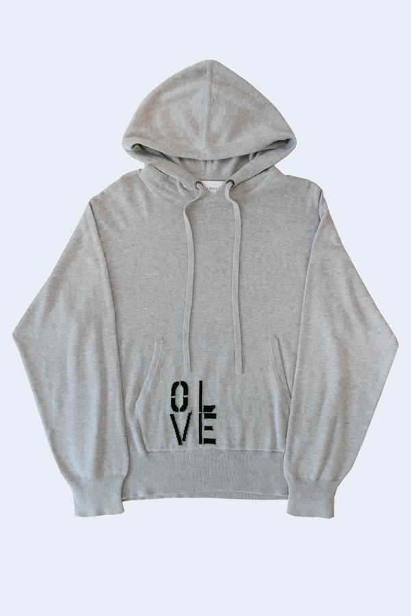 Olive You Cotton Cashmere Hoodie in Grey