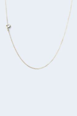 """P"" Alphabet Letter Necklace - Yellow Gold"