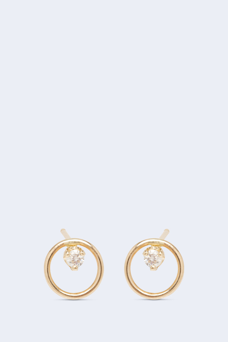 14K Gold Small Circle Stud Earrings with 2mm Diamonds PAIR