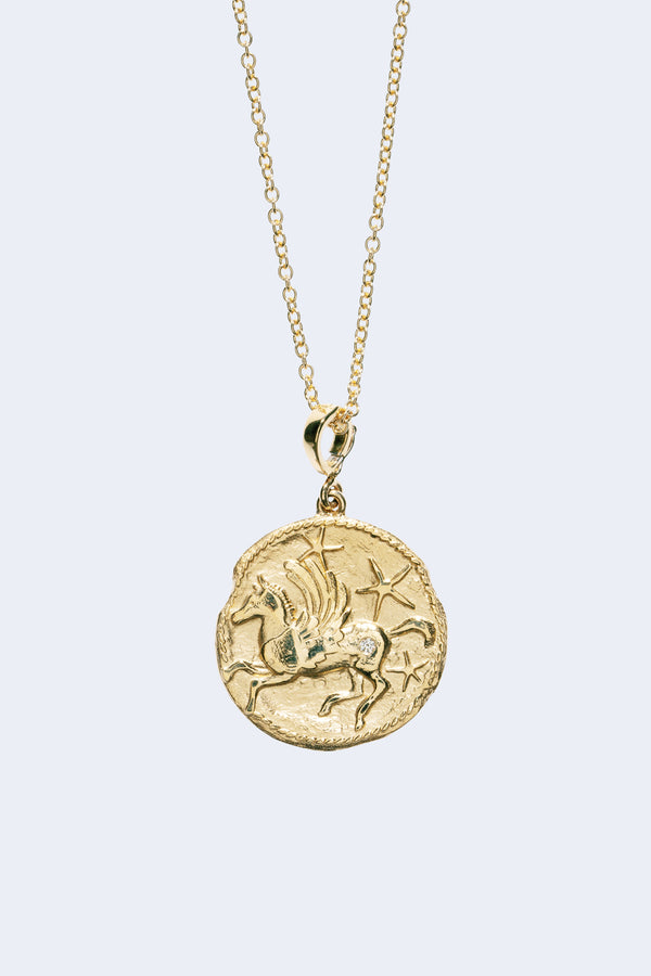 Pegasus Diamond Large Coin Necklace