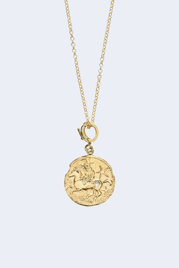 Pegasus Small Diamond Coin Necklace