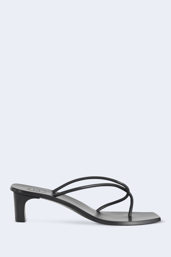 Panza Nappa Heeled Slide Sandal in Black