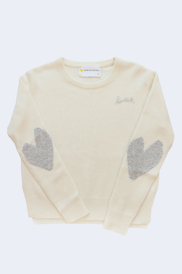 Patchwork Love Cashmere Pullover in Ivory + Dove