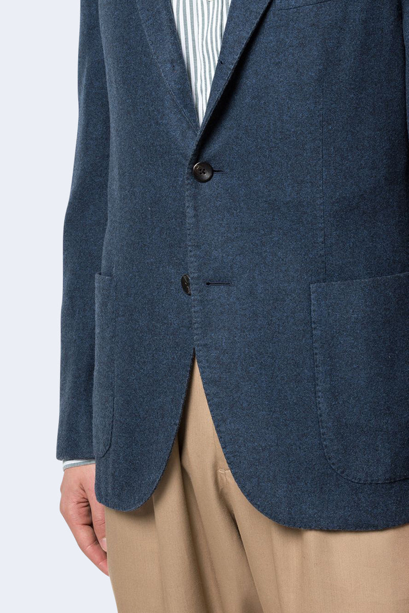 Plush Wool 3 Button Jacket in Blue
