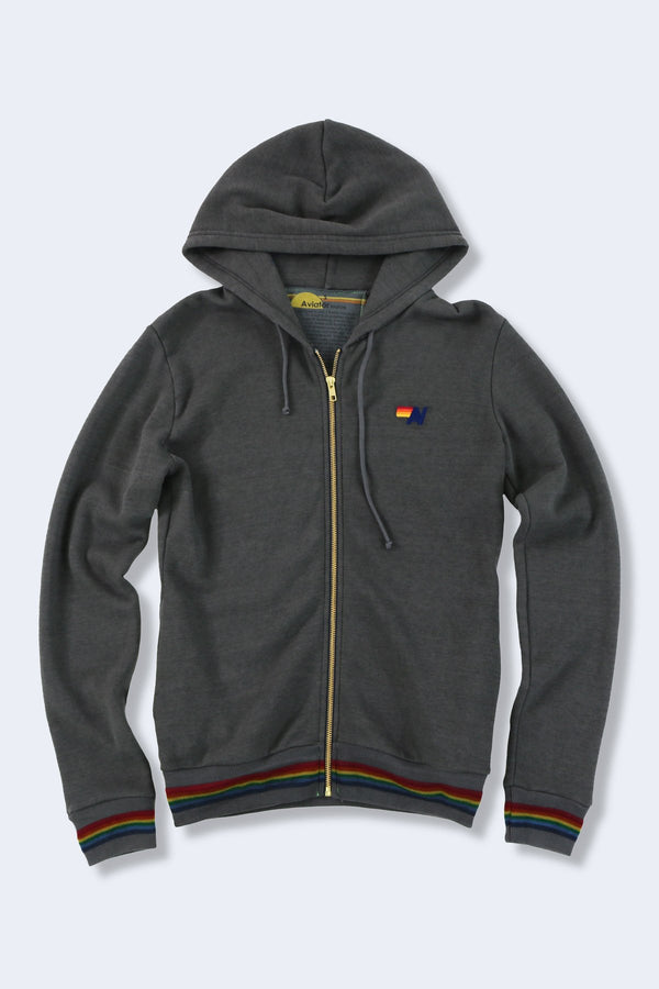 Prism Zipped Hoodie in Vintage Charcoal