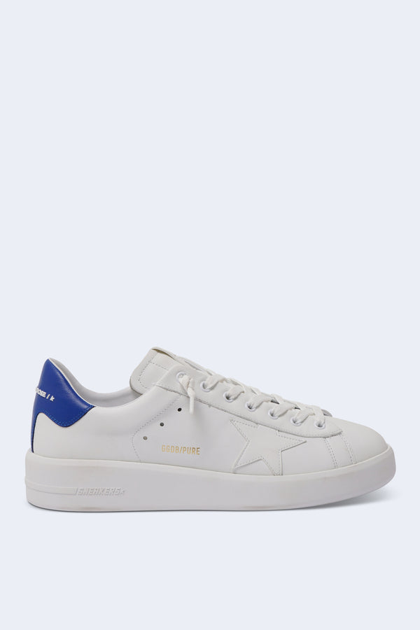 Men's Pure Star Sneakers with White Leather and Blue Heel