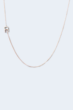 """R"" Alphabet Letter Necklace - Rose Gold"