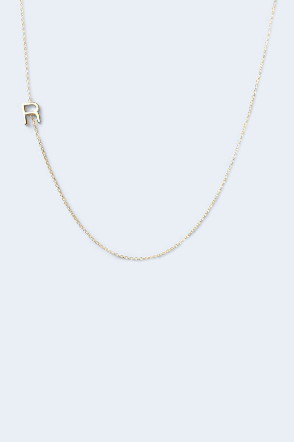 """R"" Alphabet Letter Necklace - Yellow Gold"