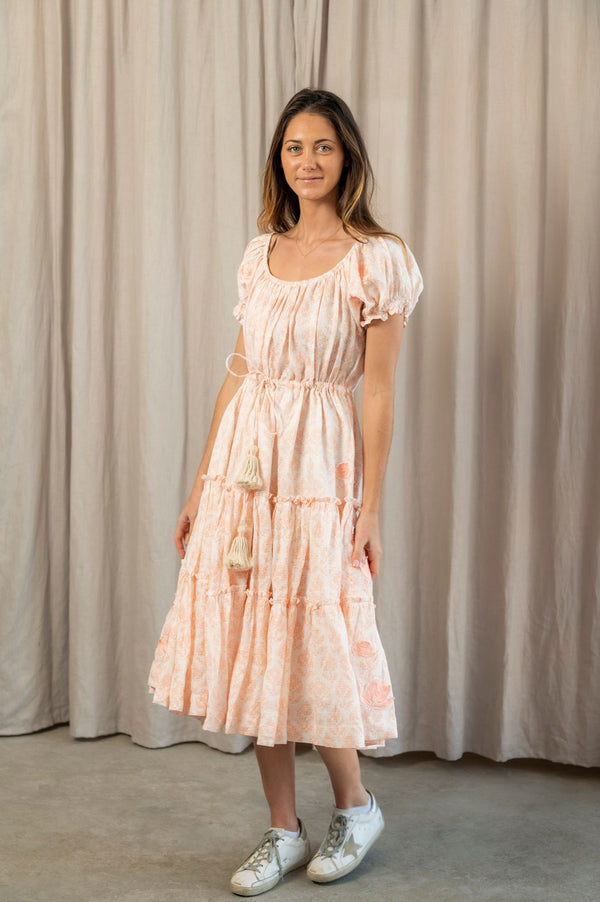 Peach Linen Full Peasant Dress