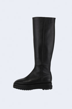 Platform Long Clean Leather Boots in Black