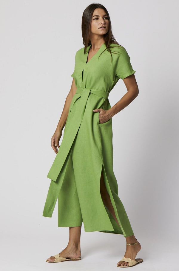 Rosetta Linen Long Caftan in Green