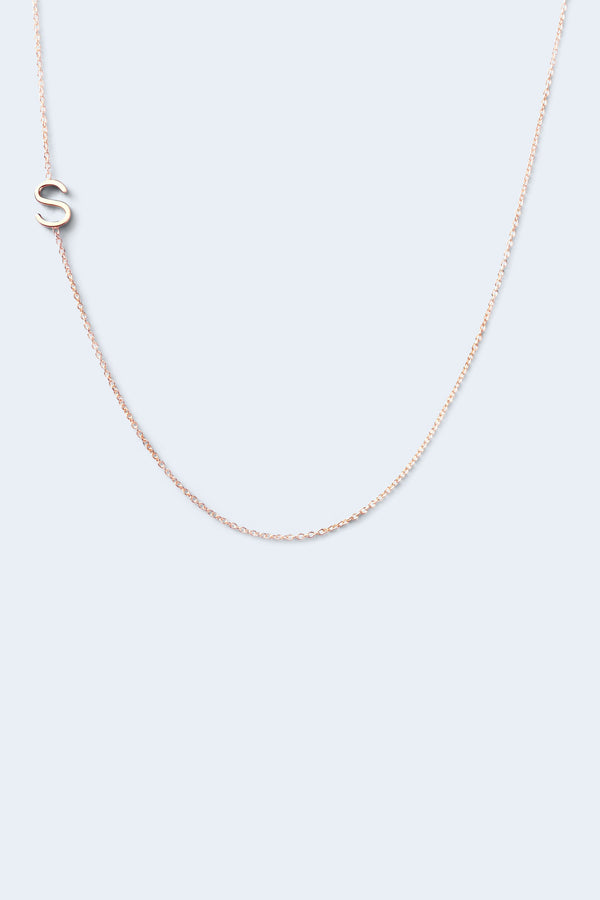 """S"" Alphabet Letter Necklace - Rose Gold"