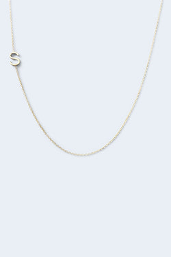 """S"" Alphabet Letter Necklace - Yellow Gold"