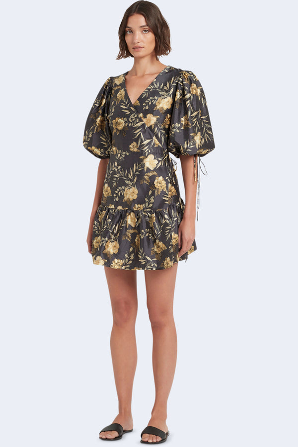 Carmen Wrap Mini Dress in Lita Print