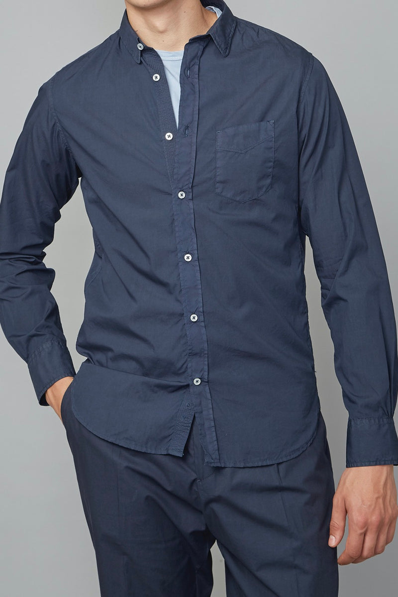 Lipp Stitch Pigment Dyed Light Poplin Shirt in Dark Navy