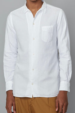 JS Piping Pigment Dyed Cotton Linen Shirt in White