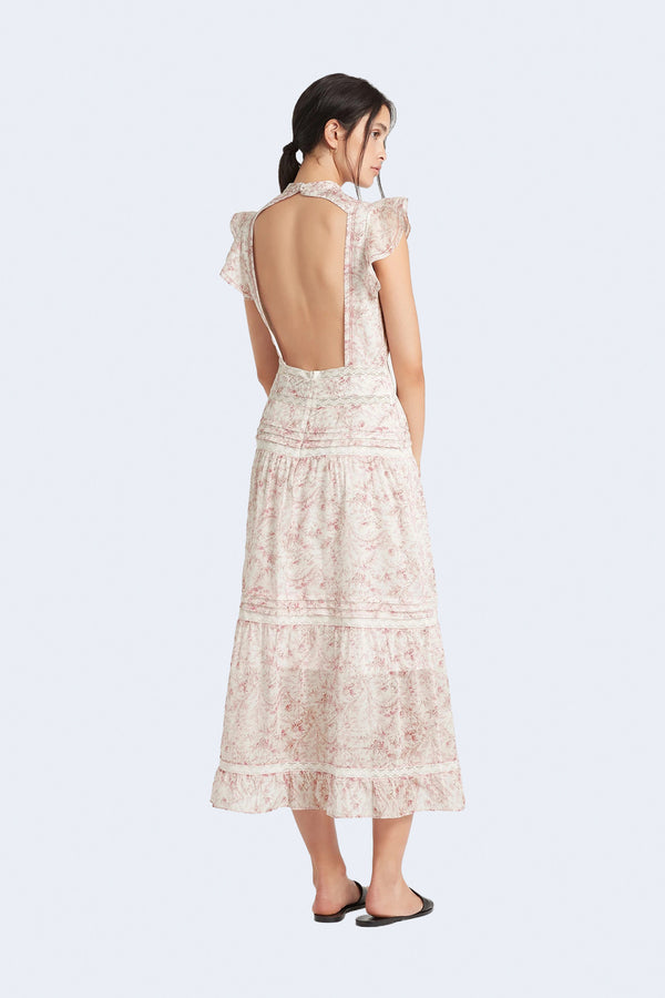 Caprice Open Back Gown in Caprice Print