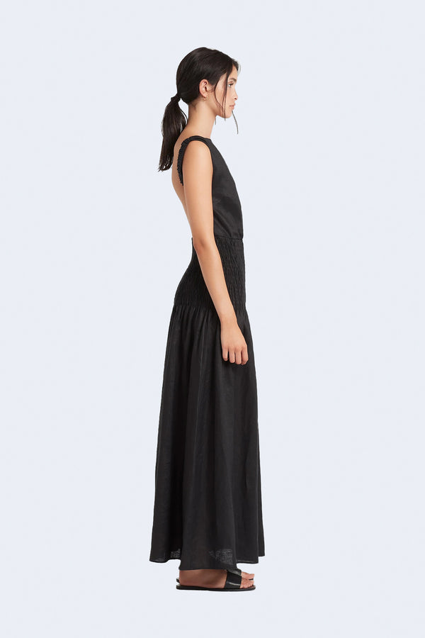 Lorena Open Back Maxi Dress in Black