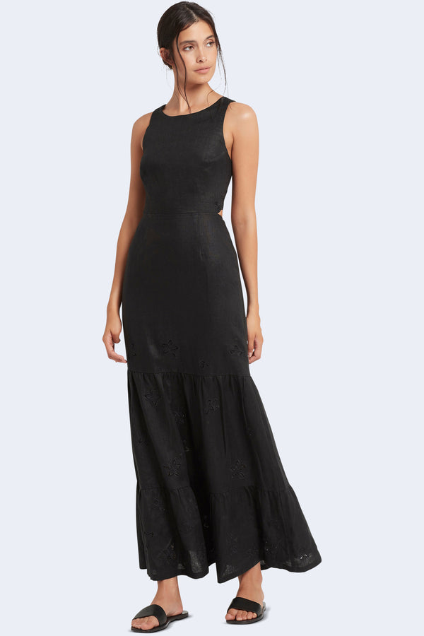 Alena Tiered Maxi Dress in Black