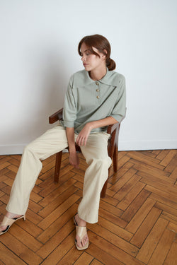 Saziley Cashmere Polo in Almond
