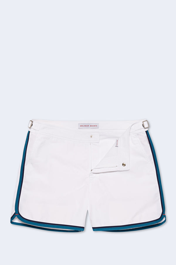 Setter Binding Swim Short in White Aquamarine
