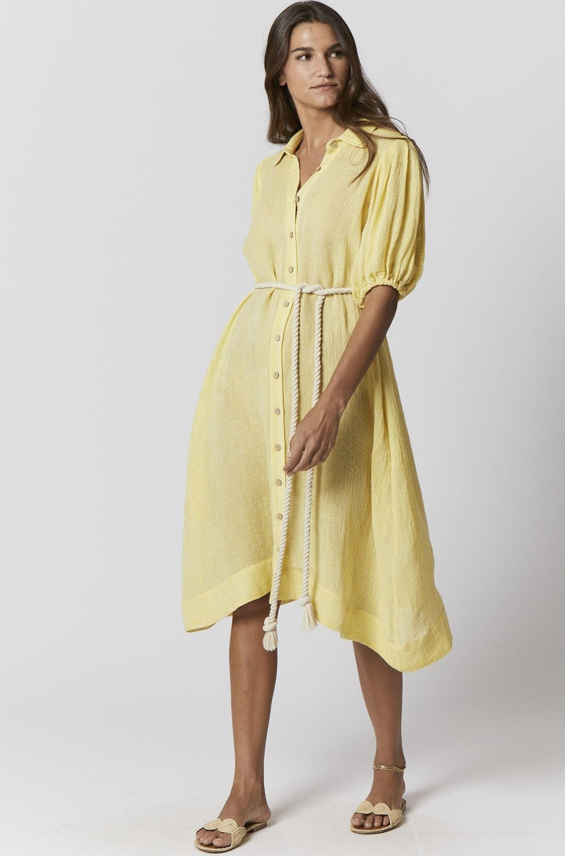 Pouf Sleeve Shirt Dress in Yellow