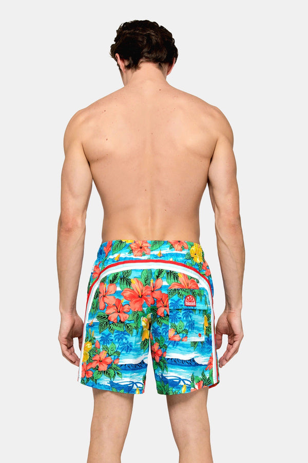 "Elastic Waist 16"" Swim Short in Skye"