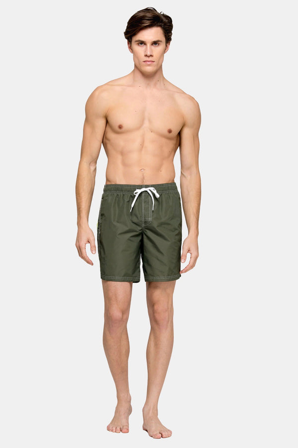 "Elastic Waist 16"" Swim Short in Dark Army Green"