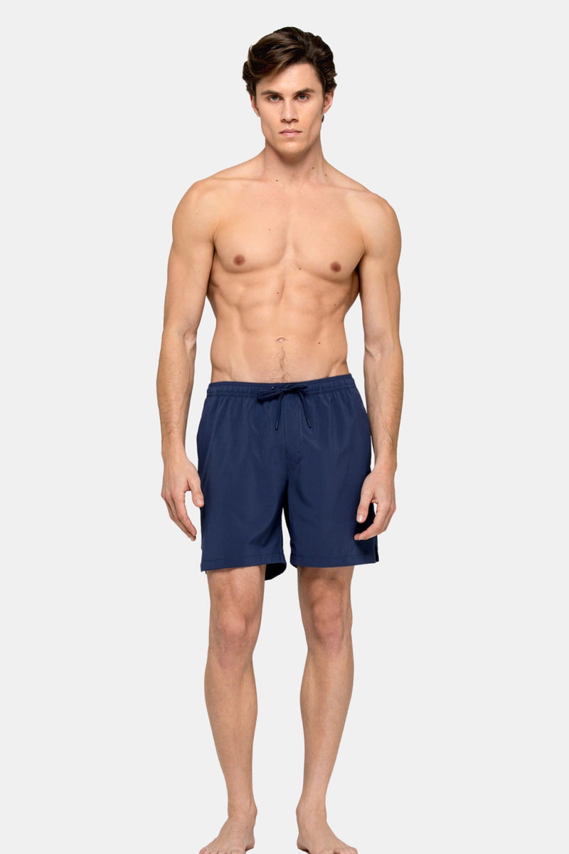 "Elastic Waist 16"" Swim Short with 2 Side Pockets in Navy"