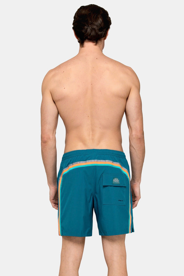"Elastic Waist 16"" Swim Short with 2 Side Pockets in Teal"