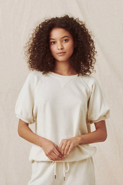 The Short Sleeve Puff Sweatshirt in Washed White