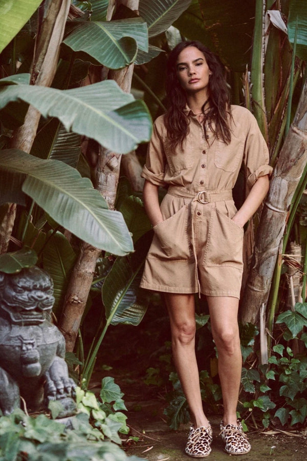 The Short Pleated Boiler Suit in Khaki