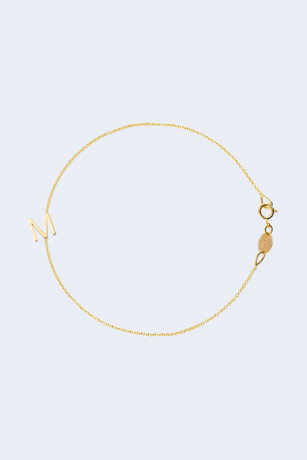 """M"" Alphabet Letter Bracelet in Yellow Gold"