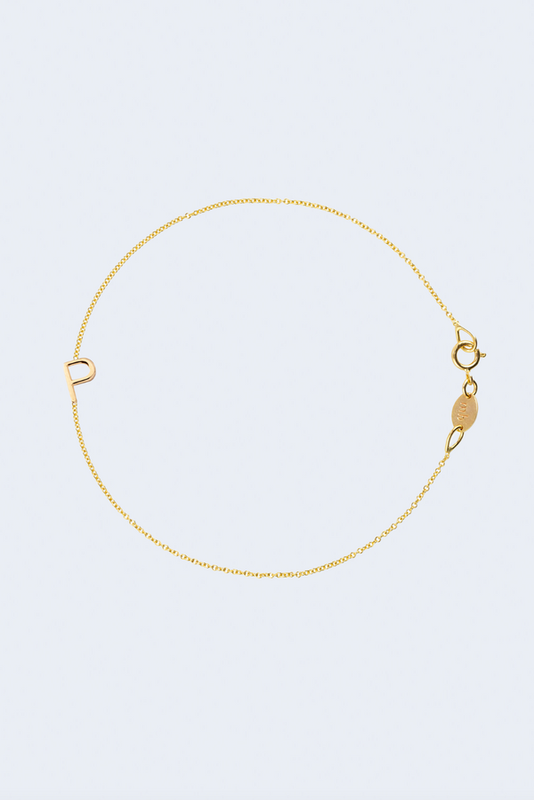 """P"" Alphabet Letter Bracelet in Yellow Gold"